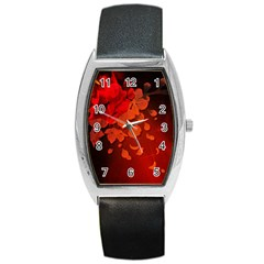 Cherry Blossom, Red Colors Barrel Style Metal Watch