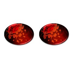 Cherry Blossom, Red Colors Cufflinks (oval)
