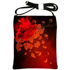 Cherry Blossom, Red Colors Shoulder Sling Bags