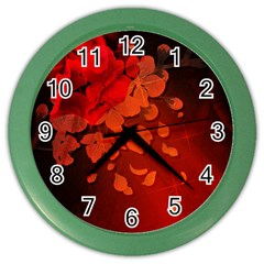 Cherry Blossom, Red Colors Color Wall Clocks