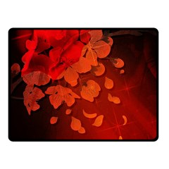 Cherry Blossom, Red Colors Fleece Blanket (small)