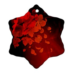 Cherry Blossom, Red Colors Snowflake Ornament (two Sides)