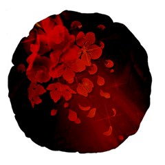Cherry Blossom, Red Colors Large 18  Premium Flano Round Cushions
