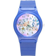 Snail And Waterlily, Watercolor Round Plastic Sport Watch (s)