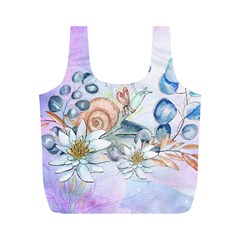 Snail And Waterlily, Watercolor Full Print Recycle Bags (m)