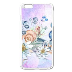 Snail And Waterlily, Watercolor Apple Iphone 6 Plus/6s Plus Enamel White Case