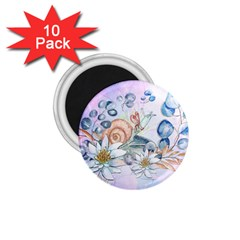 Snail And Waterlily, Watercolor 1 75  Magnets (10 Pack)