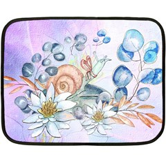 Snail And Waterlily, Watercolor Fleece Blanket (mini)