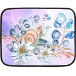 Snail And Waterlily, Watercolor Fleece Blanket (Mini) 35 x27 Blanket