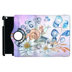 Snail And Waterlily, Watercolor Apple Ipad 2 Flip 360 Case