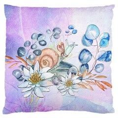 Snail And Waterlily, Watercolor Large Flano Cushion Case (one Side)