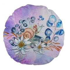 Snail And Waterlily, Watercolor Large 18  Premium Flano Round Cushions