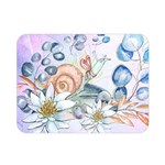 Snail And Waterlily, Watercolor Double Sided Flano Blanket (Mini)  35 x27 Blanket Back