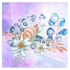Snail And Waterlily, Watercolor Large Satin Scarf (square)