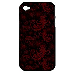 Dark Red Flourish Apple Iphone 4/4s Hardshell Case (pc+silicone)
