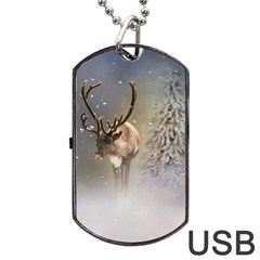 Santa Claus Reindeer In The Snow Dog Tag Usb Flash (two Sides)