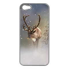 Santa Claus Reindeer In The Snow Apple Iphone 5 Case (silver)