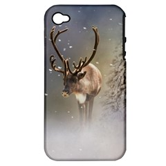 Santa Claus Reindeer In The Snow Apple Iphone 4/4s Hardshell Case (pc+silicone)