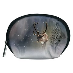 Santa Claus Reindeer In The Snow Accessory Pouch (medium)