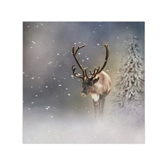 Santa Claus Reindeer In The Snow Small Satin Scarf (square)