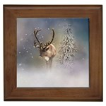 Santa Claus Reindeer In The Snow Framed Tiles Front