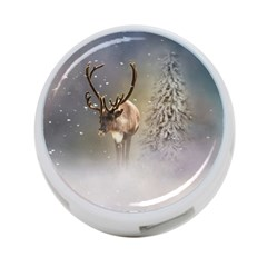 Santa Claus Reindeer In The Snow 4 Port Usb Hub (two Sides)