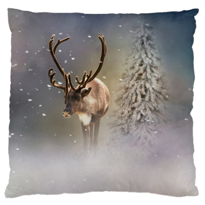 Santa Claus Reindeer In The Snow Large Cushion Case (Two Sides)