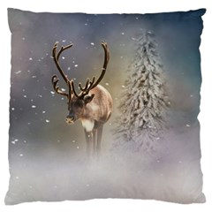 Santa Claus Reindeer In The Snow Standard Flano Cushion Case (one Side)