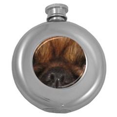 Pekingese Eyes Round Hip Flask (5 Oz)