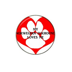 My Norwegian Elkhound Loves Me Hat Clip Ball Marker (4 Pack)