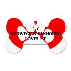 My Norwegian Elkhound Loves Me Dog Tag Bone (one Side)