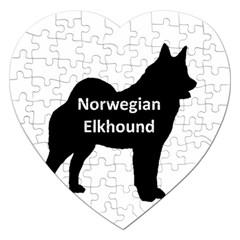Norwegian Elkhound  Name Silo Black Jigsaw Puzzle (heart)