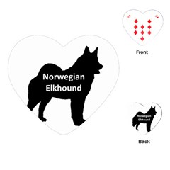 Norwegian Elkhound  Name Silo Black Playing Cards (heart)
