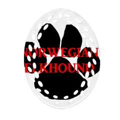 Norwegian Elkhound Name Paw Oval Filigree Ornament (two Sides)