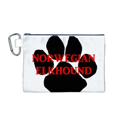 Norwegian Elkhound Name Paw Canvas Cosmetic Bag (m)