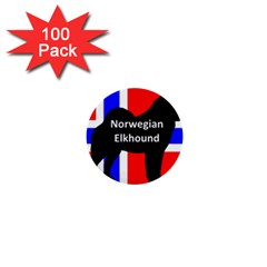 Norwegian Elkhound Name Silo On Norway Flag 1  Mini Buttons (100 Pack)