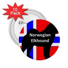Norwegian Elkhound Name Silo On Norway Flag 2 25  Buttons (10 Pack)