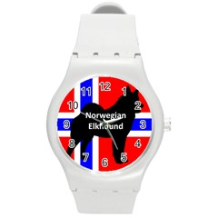 Norwegian Elkhound Name Silo On Norway Flag Round Plastic Sport Watch (m)