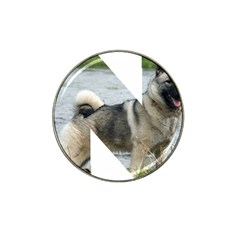 Norwegian Elkhound In Letter Hat Clip Ball Marker (4 Pack)