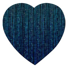 Stylish Abstract Blue Strips Jigsaw Puzzle (heart)