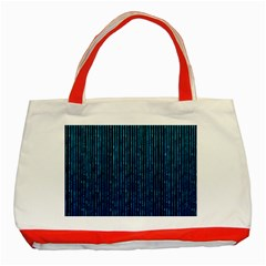 Stylish Abstract Blue Strips Classic Tote Bag (red)
