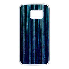 Stylish Abstract Blue Strips Samsung Galaxy S7 White Seamless Case