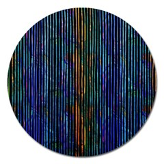 Stylish Colorful Strips Magnet 5  (round)