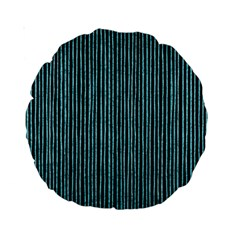 Stylish Frost Blue Strips Standard 15  Premium Round Cushions