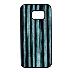 Stylish Frost Blue Strips Samsung Galaxy S7 Black Seamless Case