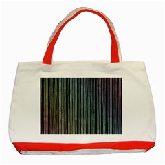 Stylish Rainbow Strips Classic Tote Bag (red)