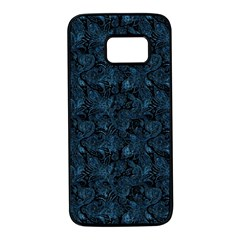 Blue Flower Glitter Look Samsung Galaxy S7 Black Seamless Case