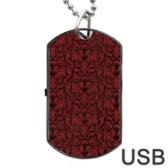 Red Glitter Look Floral Dog Tag Usb Flash (one Side)