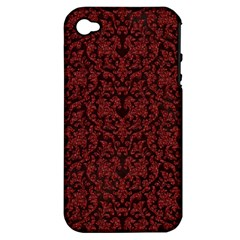 Red Glitter Look Floral Apple Iphone 4/4s Hardshell Case (pc+silicone)