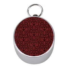 Red Glitter Look Floral Mini Silver Compasses